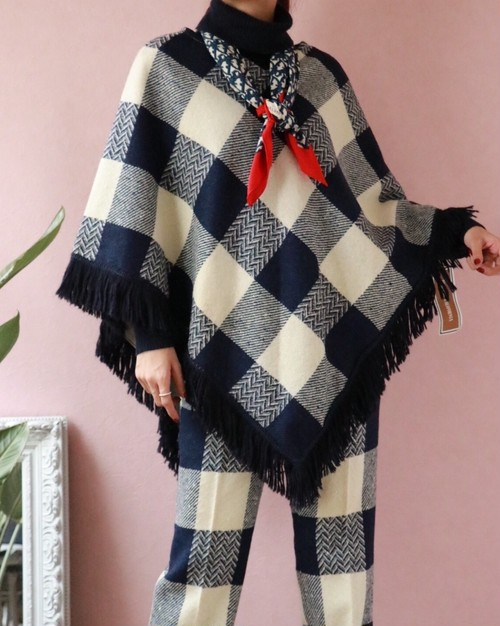 70's block check poncho