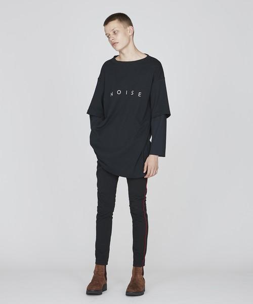 レイヤードロゴビッグTシャツ(ブラック)