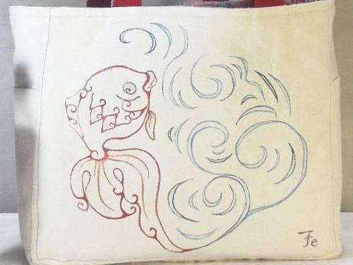[和柄の手描き]トートバック・金魚