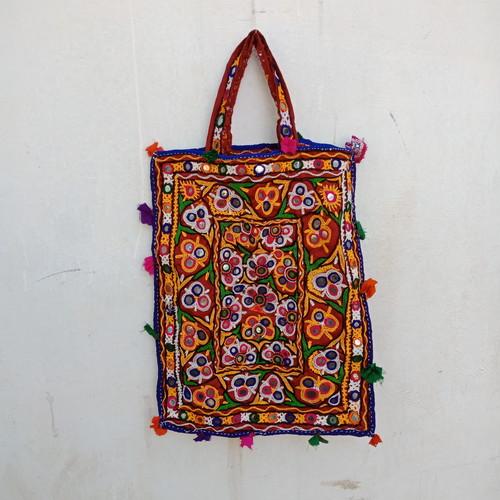 vintage ラバリ族 ミラーワーク刺繍のトートbag