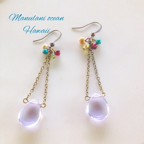 Tropical Vintage*Chezglass&gemstone earings