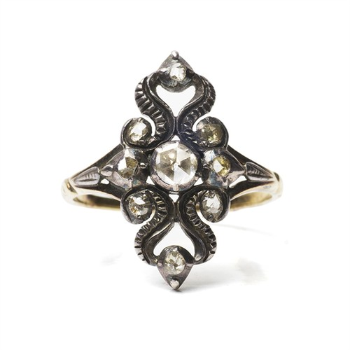 Dutch Rose-cut Diamond Ornate Ring