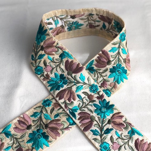 インド刺繍リボン ターコイズブルー×きなり ins-0061to
