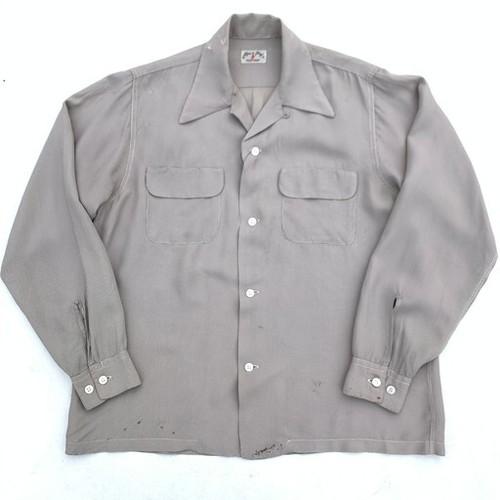 40's 50's Lion of Troy ハウンドトゥースチェックオープンカラーシャツ 千鳥格子 ホワイト ブラウン シェルボタン ボックスシャツ Mサイズ 希少 ヴィンテージ BA-949 RM1318H