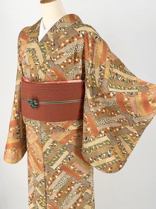 小紋 袷着物 着物 きもの カジュアル着物 仕立て上がり 送料無料 リサイクル着物 中古 身丈152cm 裄丈63cm