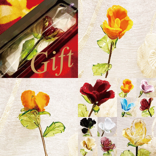 Item777 箱入り ヴェネチアンガラス ローズ ガラスの薔薇