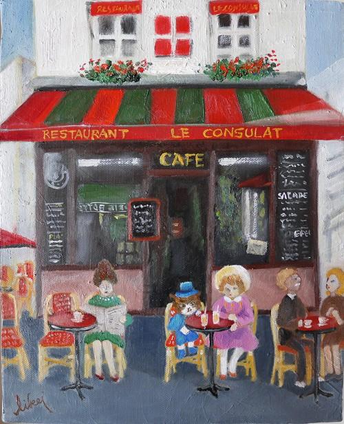 パリのカフェで(RESTAURANT LE CONSULAT)(額付)