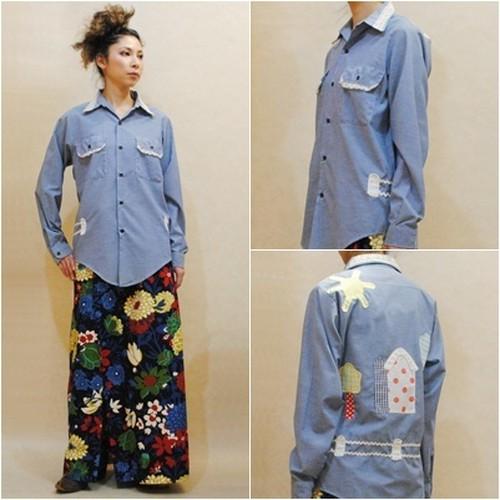 M~XLサイズ【アメリカ製古着】1960年代ヴィンテージ◆ヒッピーシャツ◆家や太陽のパッチ◆ヒッピーシャツ