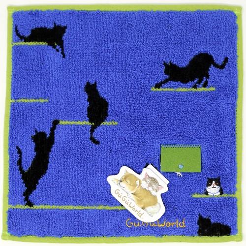 猫タオルハンカチ(GUGUWorldキャットドア)ブルー