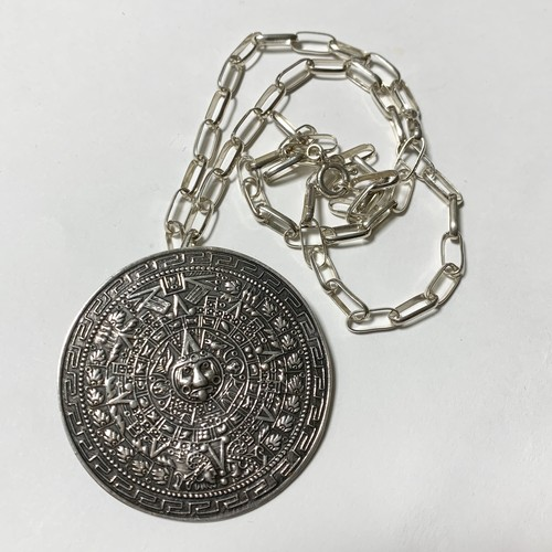 Vintage 925 Silver Mexican Aztec Mayan Calendar Huge Pendant Top or Blooch With Chain