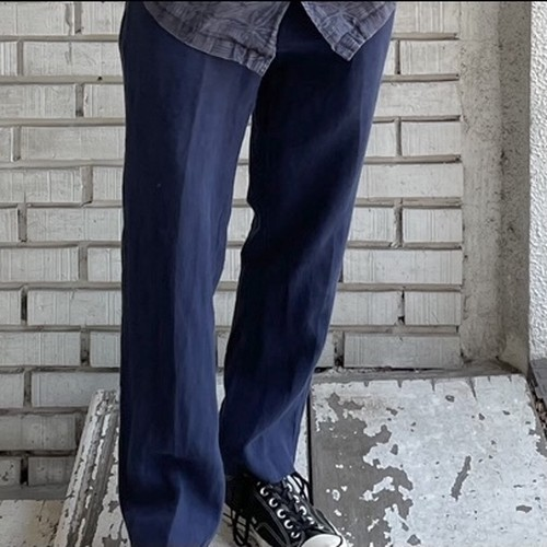 USED NAVY BLUE LINEN PANTS