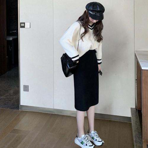 通勤スタイル      韓国ファッション    流行り    Vネック    長袖     ボーダー柄    オシャレ   セットアップ