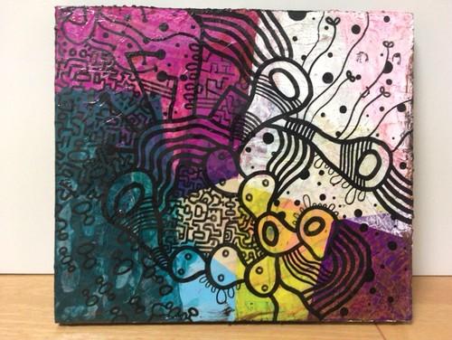 両面描き「絵の具を使い切りたかった」断片-第二進化形態/細胞パターン