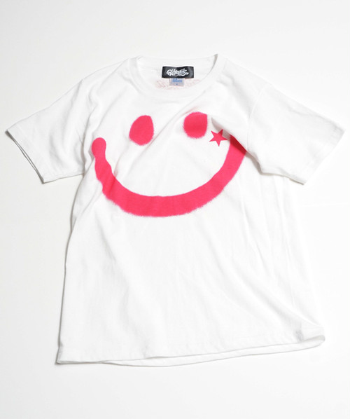 RAKUGAKI BIG SMILE T-Shirts White x Magenta