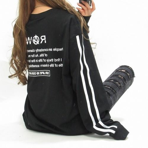 バックロゴ 袖ライン Frontロゴ刺繍 ロング丈 BIGロンT オーバサイズ ブラック