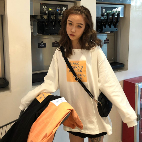 通勤 プリントアル ファベットコットン Tシャツ オレンジ3色