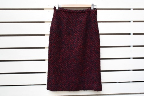VINTAGE Red x Black tweed skirt