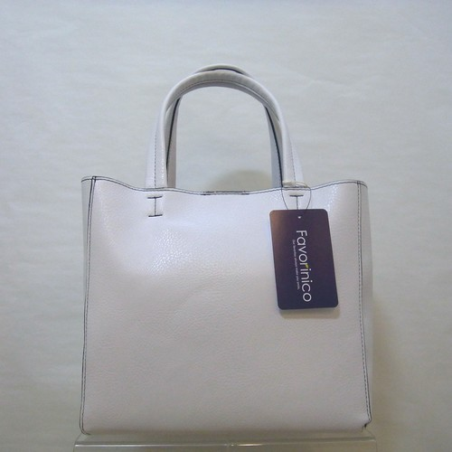 Fake Leather Mini Tote [White]