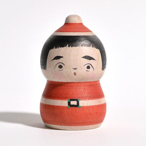 クリスマスこけし 約2寸 約7cm 長谷川優志 工人(津軽系)#0055