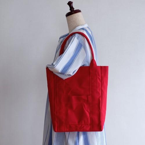 トートバッグ 02【マチ10㎝】赤 / 9号帆布