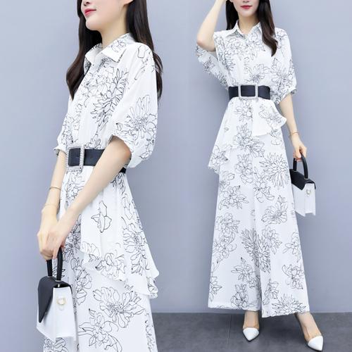 【set】レディースファッション高級感 シンプル無地プリント2点セットゆったり2色