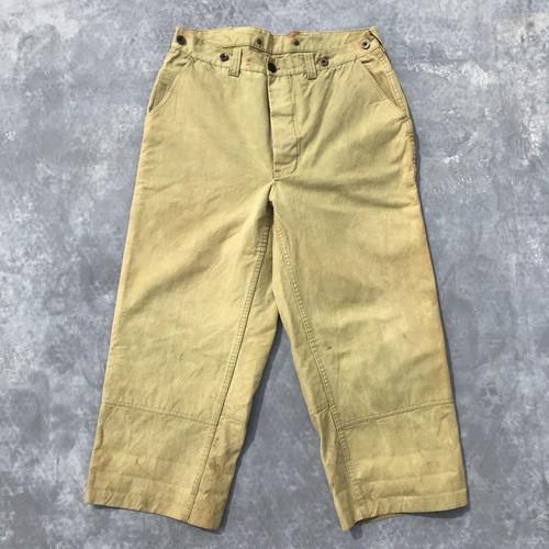 30's 40's ダックロガーパンツ ドーナツボタン 大戦 WW II ダブルニー ライトカーキ 黄緑 珍色 W36 希少 ヴィンテージ