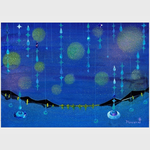 「つゆの雨粒」タペストリー