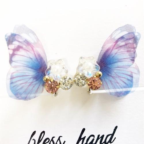 バタフライビジュー(Blue)蝶々.《ピアス/イヤリング》