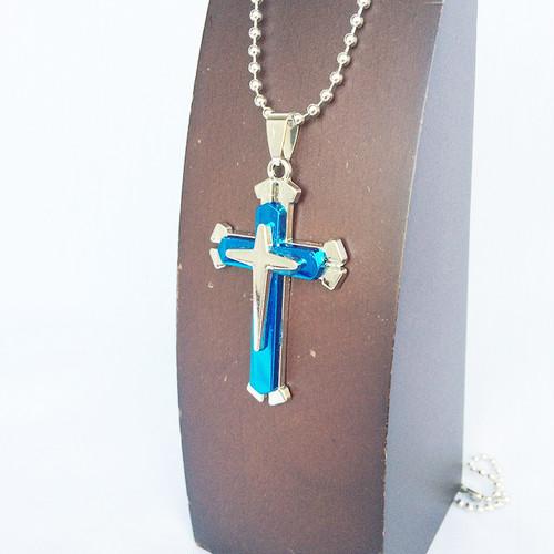 クロス 十字架 ジーザス ロザリオ チョーカー ネックレス ボールチェーン 銀 シルバー 青 ブルー 1147