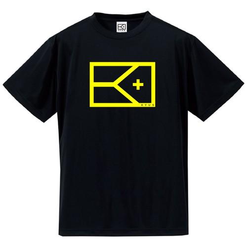 ドライシルキー KYUSロゴTシャツ(ブラック×フラッシュイエロー)
