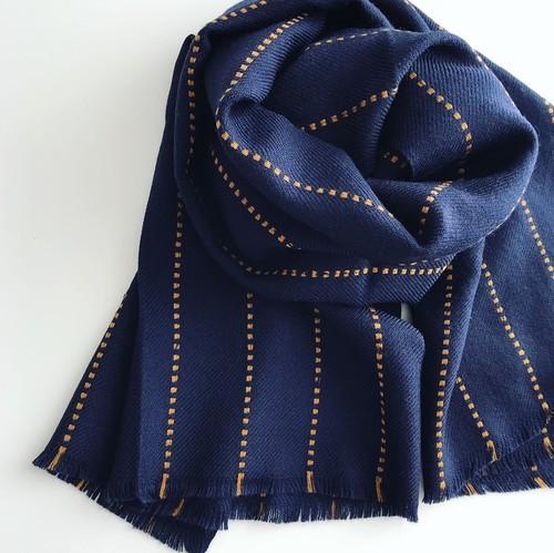 K様ご予約ページ Stitch Wool Stole: NAVY