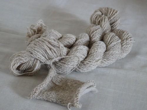 手紡ぎ糸 スコットランドファイン ベージュ lot-A02-5 26g  (total 130g)