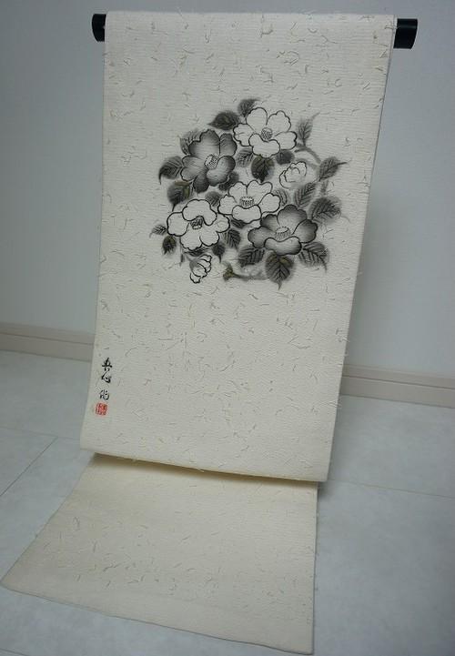 作家物 ひげ紬 名古屋帯 開き仕立て 白 椿 105