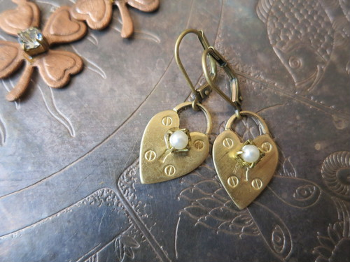 ハートロックピアス パール pierced earrings heart lock pearl <PE2-1219>