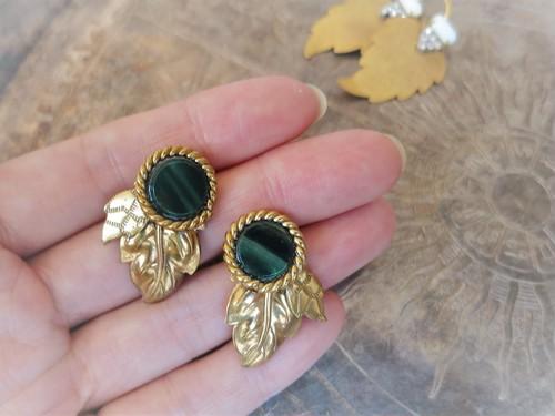 リーフピアス グリーン vintage pierced earrings <PE-lfgr>