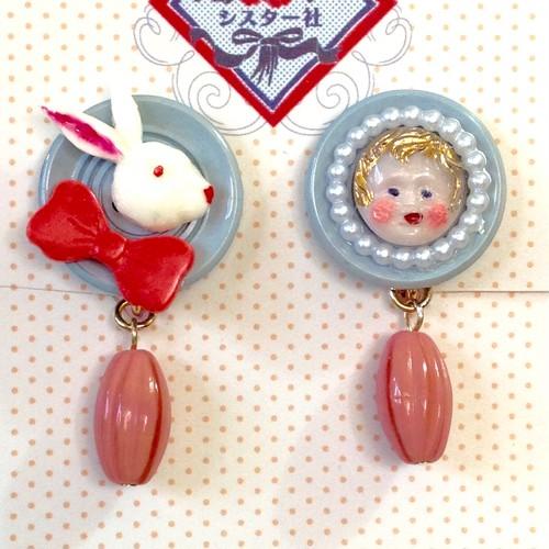 842 ウサギと女の子 イヤリング