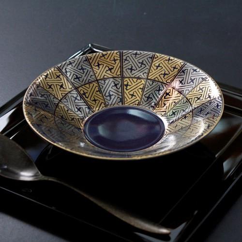 H-044 瑠璃釉金銀地紋 6寸鉢
