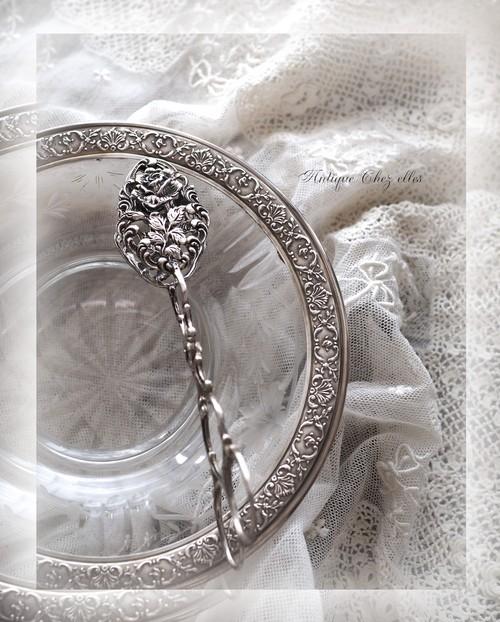純銀 エレガントなバラのトング