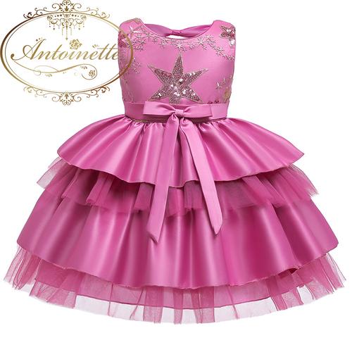 2color pink gray ピンク グレー ドレス チュール ノースリーブ リボン 可愛い 誕生日 イベント ウェディング 結婚式