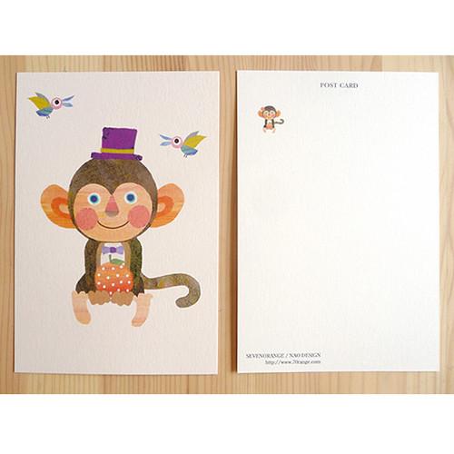 ポストカード(おさると小鳥とオレンジ)