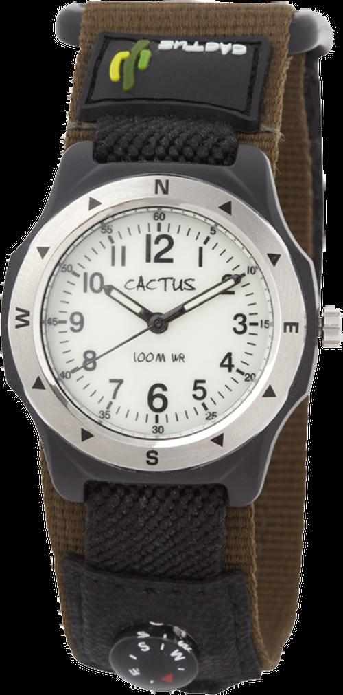 [キッズ腕時計 ボーイズデザイン]カーキ ベルクロ仕様 蓄光 10気圧防水 CAC-65-M12