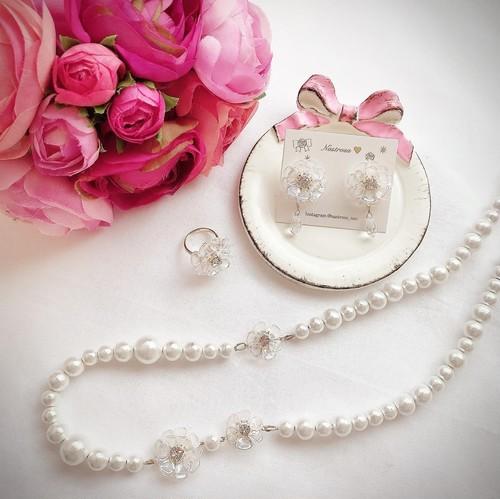 【4/3(金)21時より再販】flower drop♡long necklace