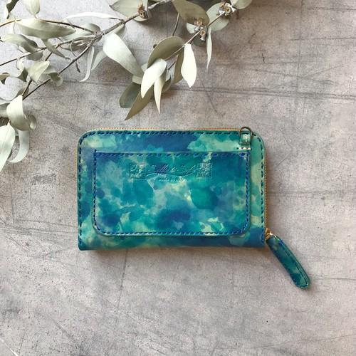 ◀︎お財布ショルダー▶︎ Balarm -Leather Long Wallet 02 / Hand dyeing Blue