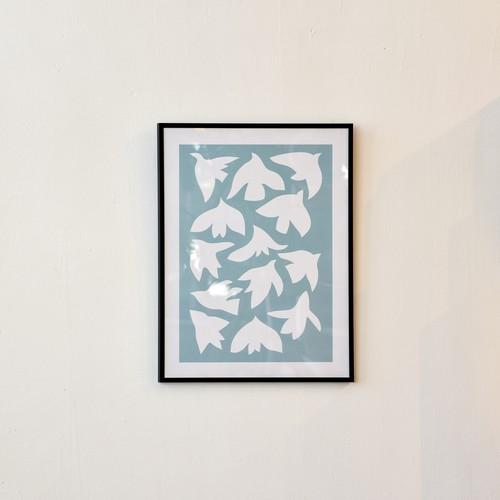 ポスター30cm×40cm / birds sky blue(フレーム付き)