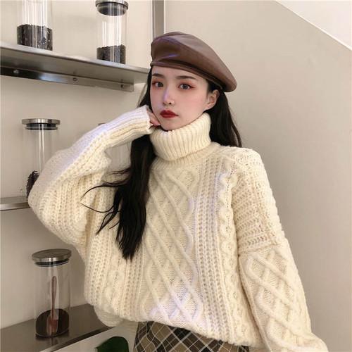 【送料無料】 華奢見えニット♡ 大人可愛い タートルネック ツイスト ざっくり編み プルオーバー ニット トップス