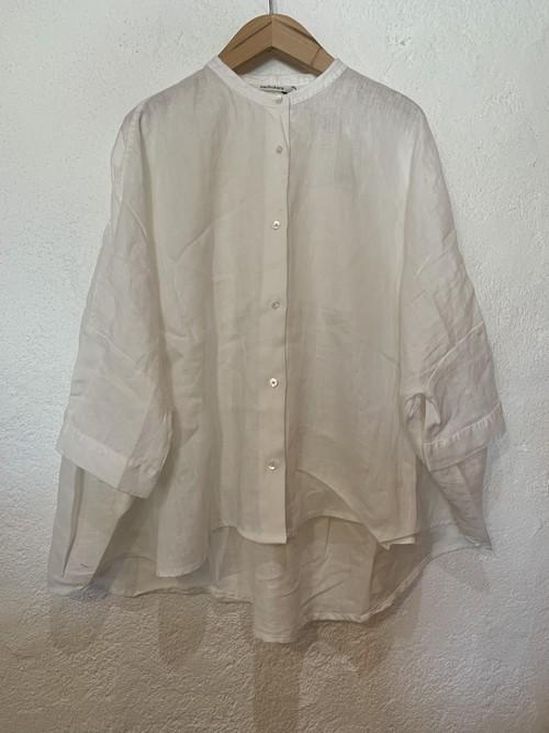 nachukara/再入荷 後ろギャザー7分袖ブラウス ホワイト