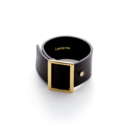 Leather & 1 Stone Wide Bracelet - Black