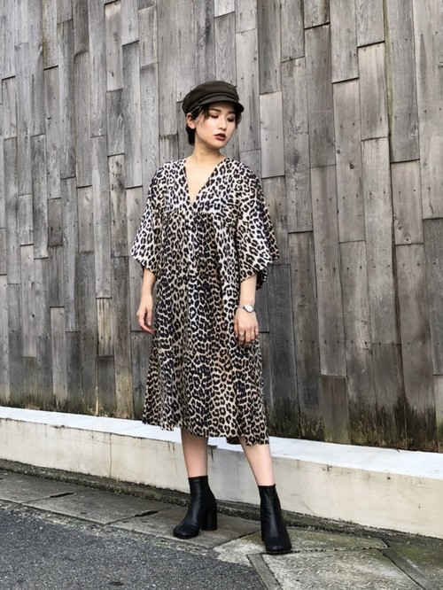【20AW】GANNI ガニー / Leopard V neck Dress