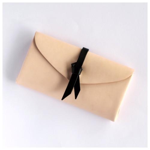 折りロングウォレット マグネットver#ベージュx黒/ ori long wallet #beige x black