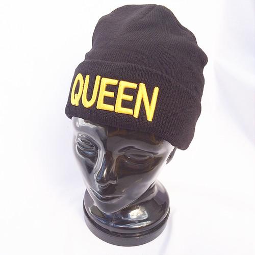 QUEEN クイーン ニットキャップ ワッチキャップ ニット帽 黒 ブラック 1199